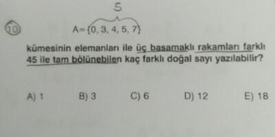 10.sınıf Permütasyon sorusu