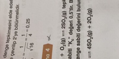 Tepkime denklemi ile denge sabiti arasındaki ilişki