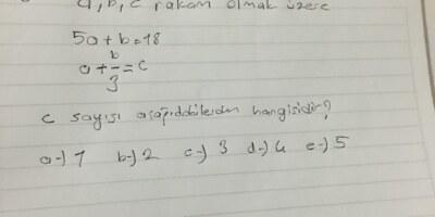 a b c rakam olmak üzere c sayısı hangisidir